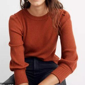 Madewell Brushed Rib Pleat-Sleeve Top Orange XL